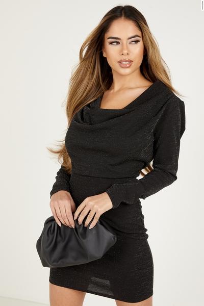 Black Glitter Cowl Neck Bodycon Dress